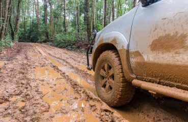 car on muddy road