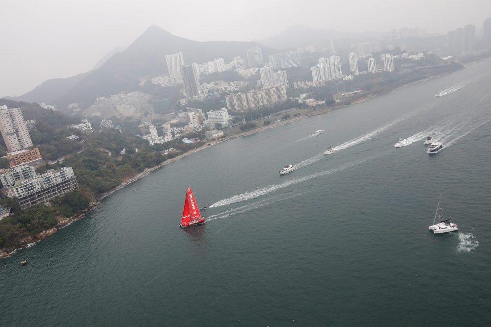 O MAPFRE foi o vencedor da Around Hong Kong Island Race, que teve muita disputa e protestos nas águas asiática Foto: Divulgação