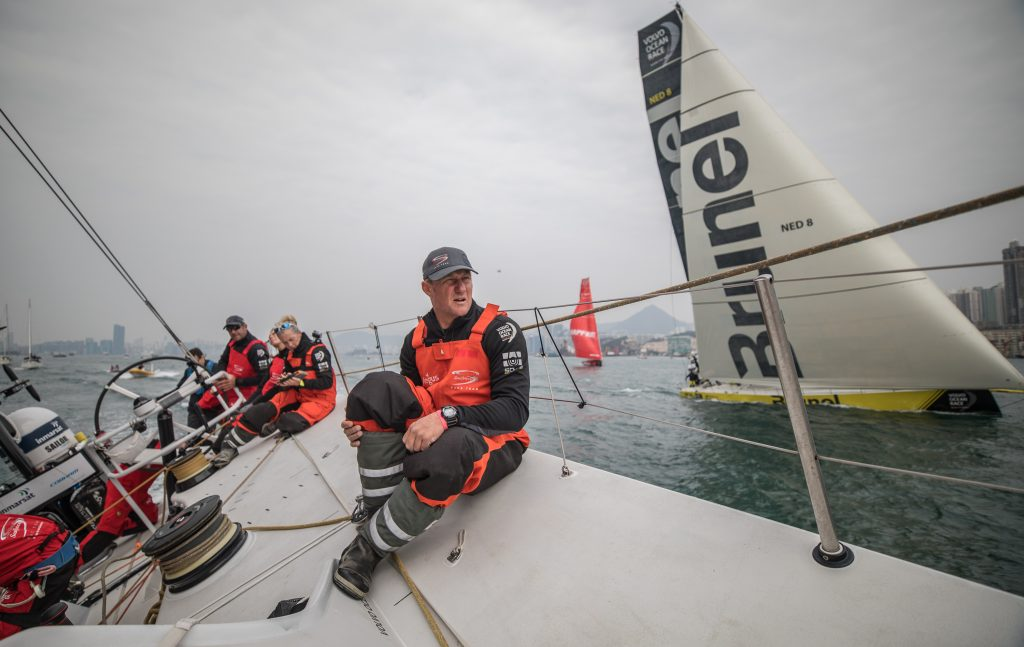 John Fisher, à bordo do Sun hung Kai/Scallywag no primeiro dia da etapa. |Foto: Jeremie Lecaudey/Volvo Ocean Race
