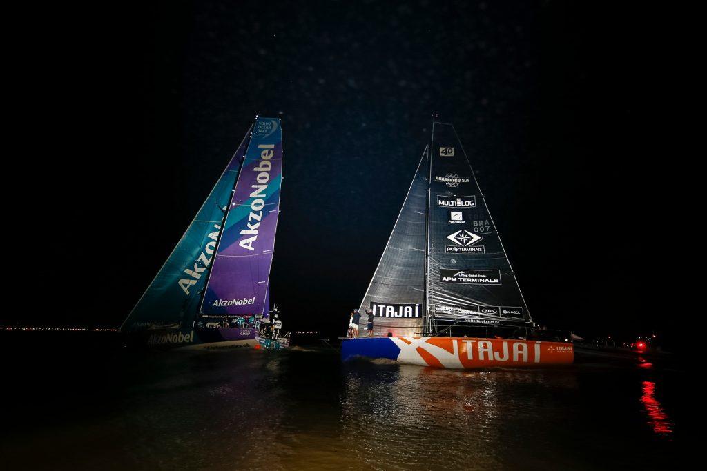 Nesta 7º etapa a equipe alcançou o terceiro lugar no pódio atrás dos Team Brunel e Dongfeng Race Team. | Foto: Pedro Martinez/Volvo Ocean Race