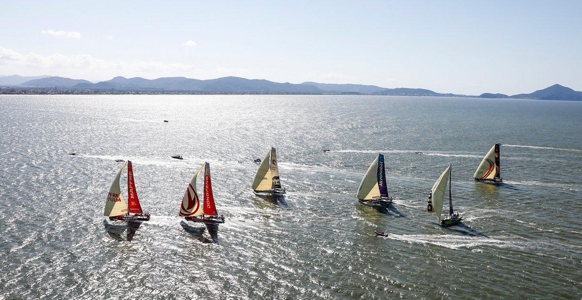 Os veleiros saíram de Itajaí rumo a Newport na tarde do último domingo (22) | Foto: Ainhoa Sanchez/Volvo Ocean Race